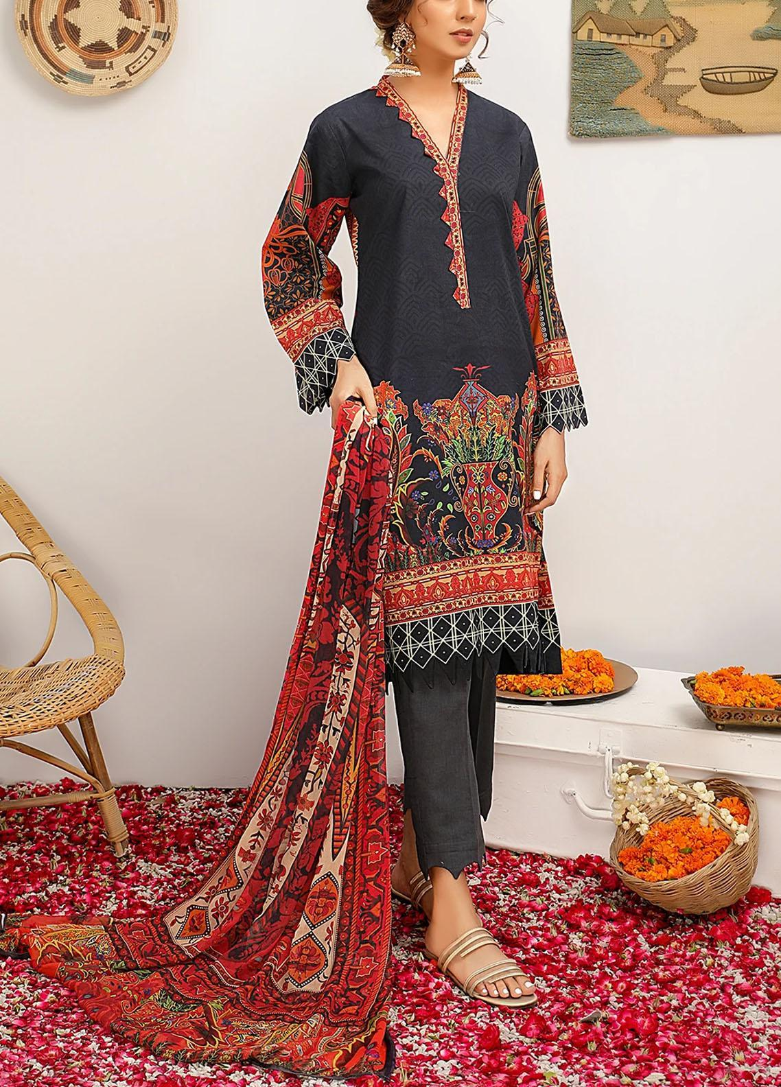 Meeral Printed Dobby Suits Unstitched 3 Piece MRL21-L2 05 Night Bloom - Summer Collection
