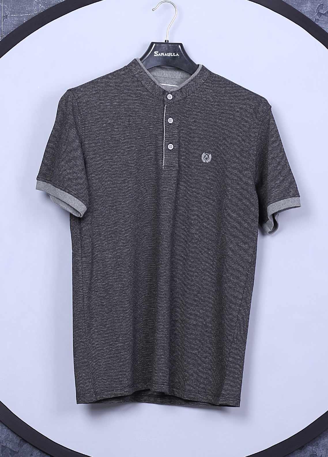 Sanaulla Exclusive Range Cotton Casual T-Shirts for Mens -  5035 Dark Grey
