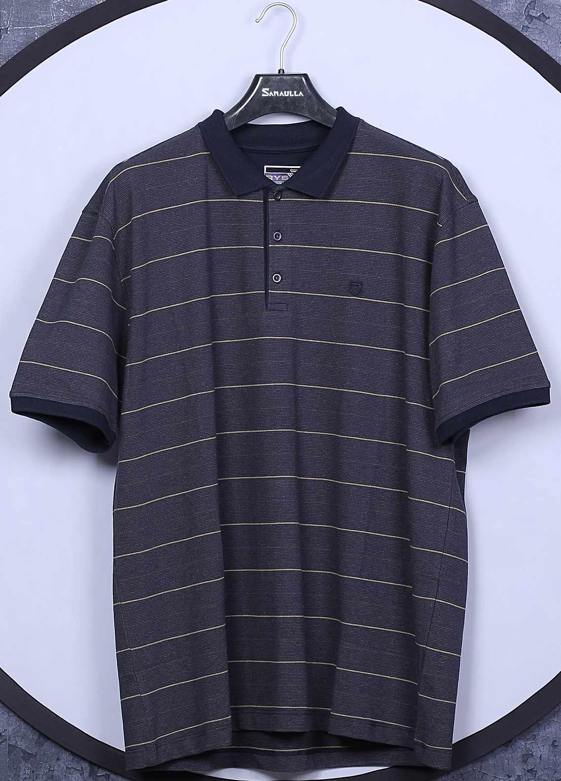 Sanaulla Exclusive Range Cotton Casual T-Shirts for Men -  5060 Navy Blue