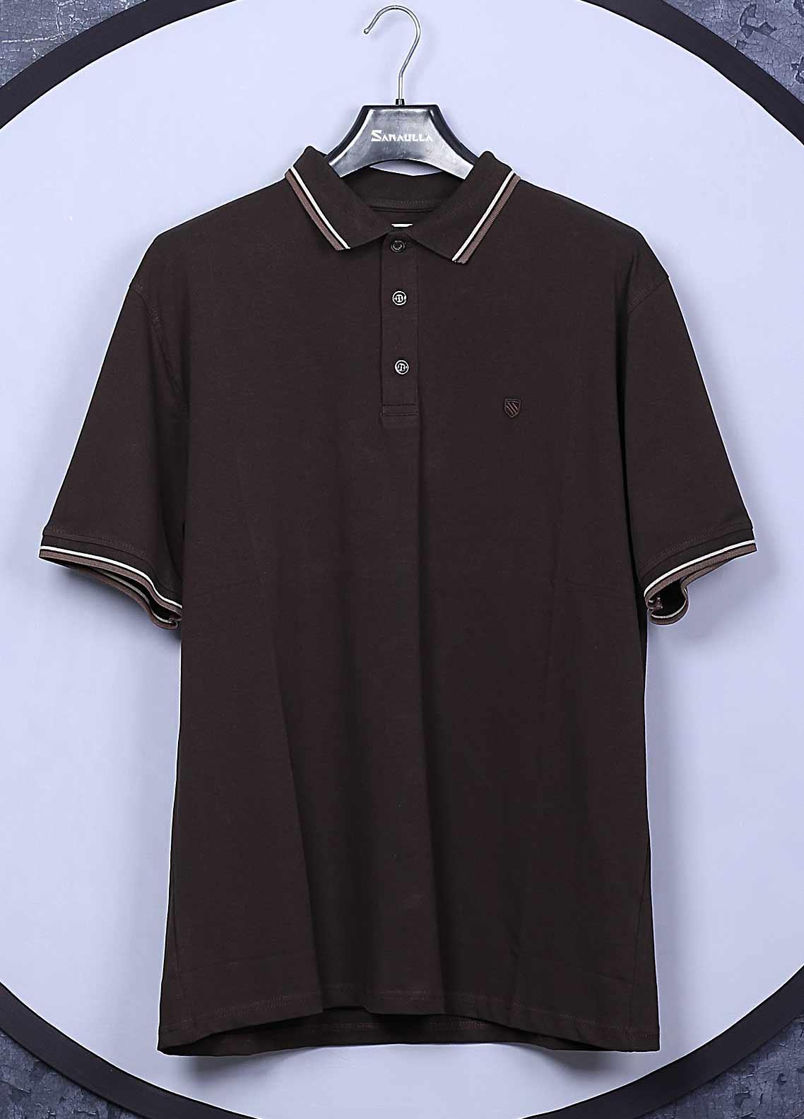 Sanaulla Exclusive Range Cotton Casual Men T-Shirts -  5317 Brown