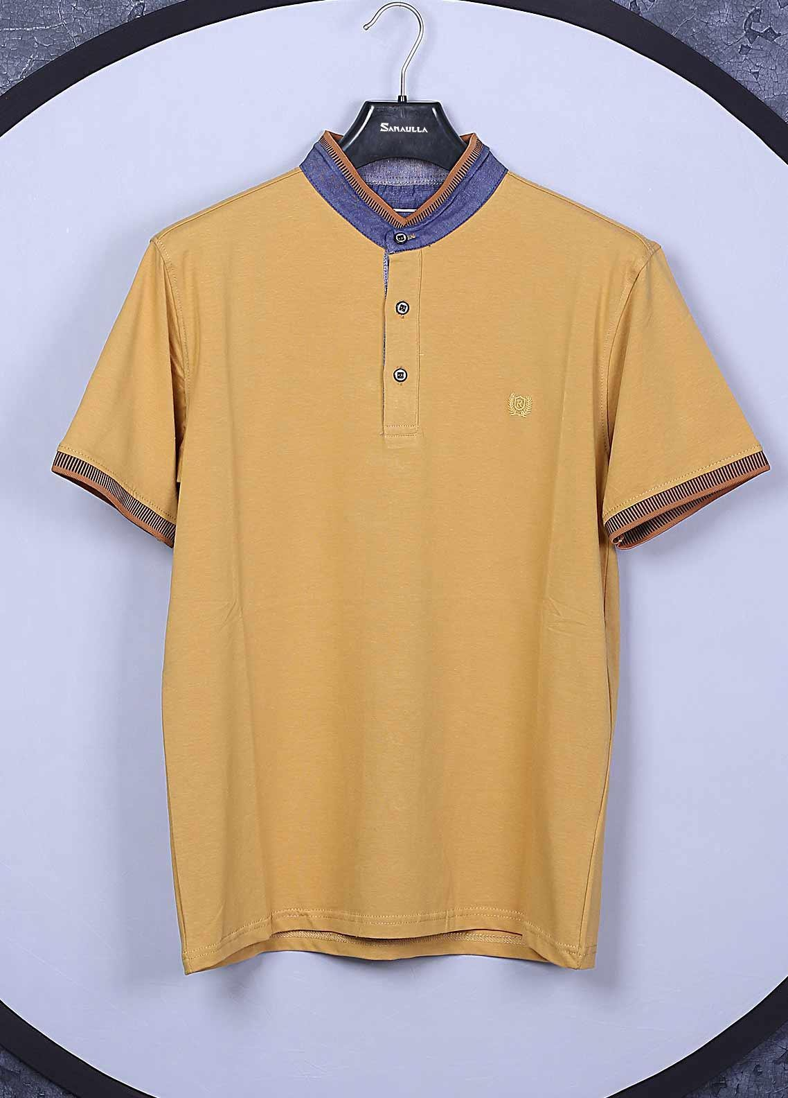 Sanaulla Exclusive Range Cotton Casual T-Shirts for Mens -  5368 Lemon
