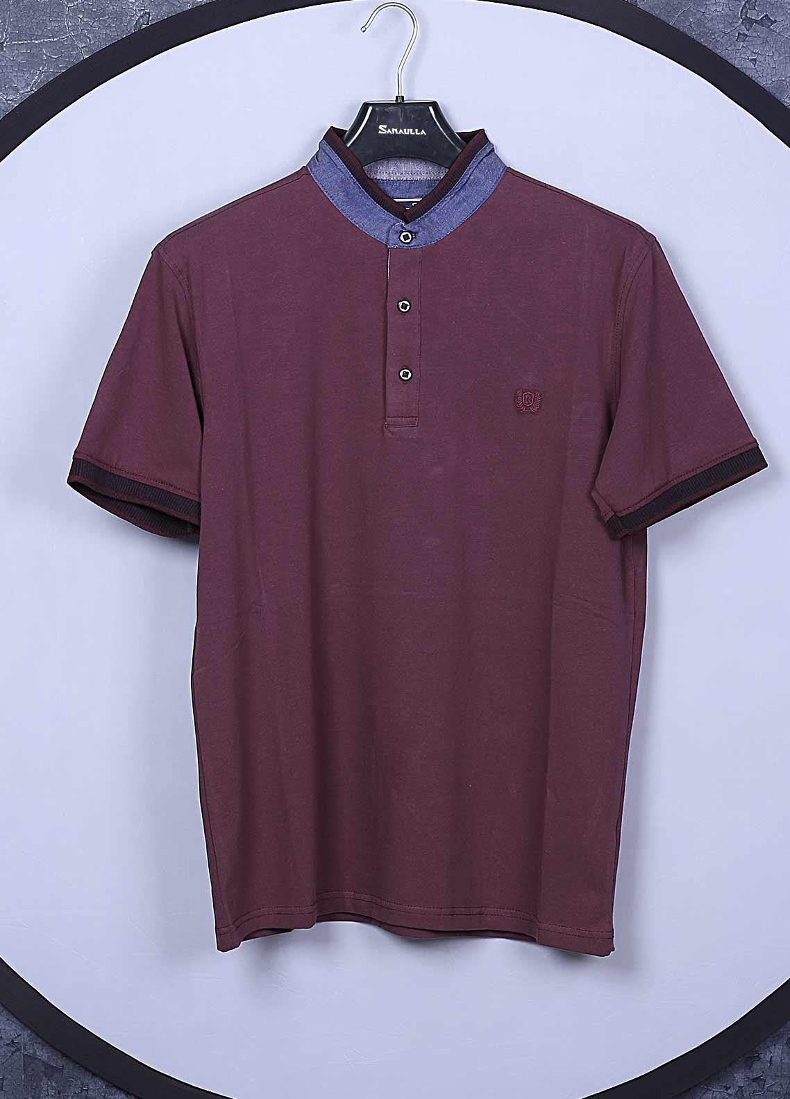 Sanaulla Exclusive Range Cotton Casual T-Shirts for Mens - 5368 Maroon