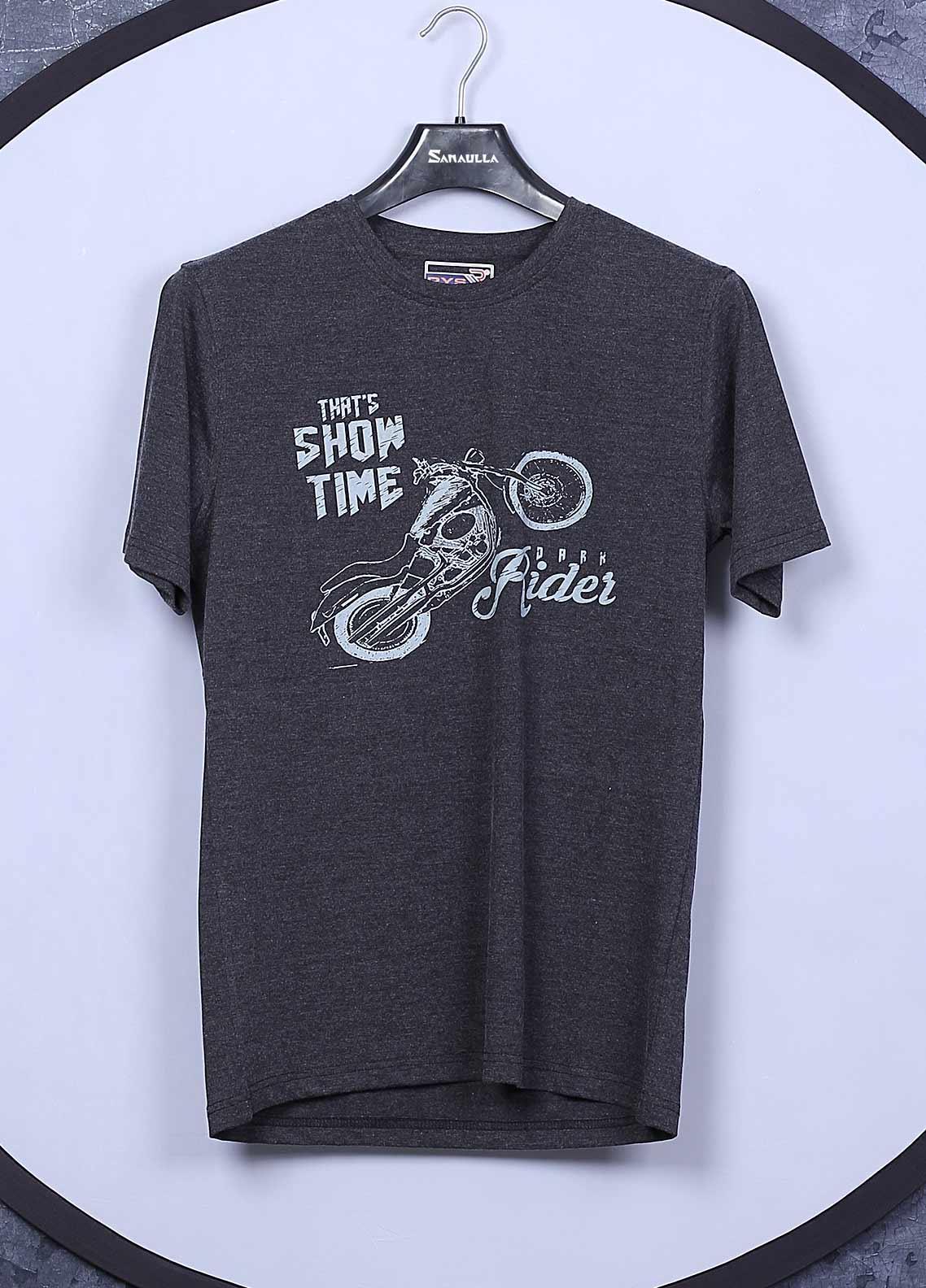 Sanaulla Exclusive Range Cotton Casual T-Shirts for Mens -  5396 Dark Grey