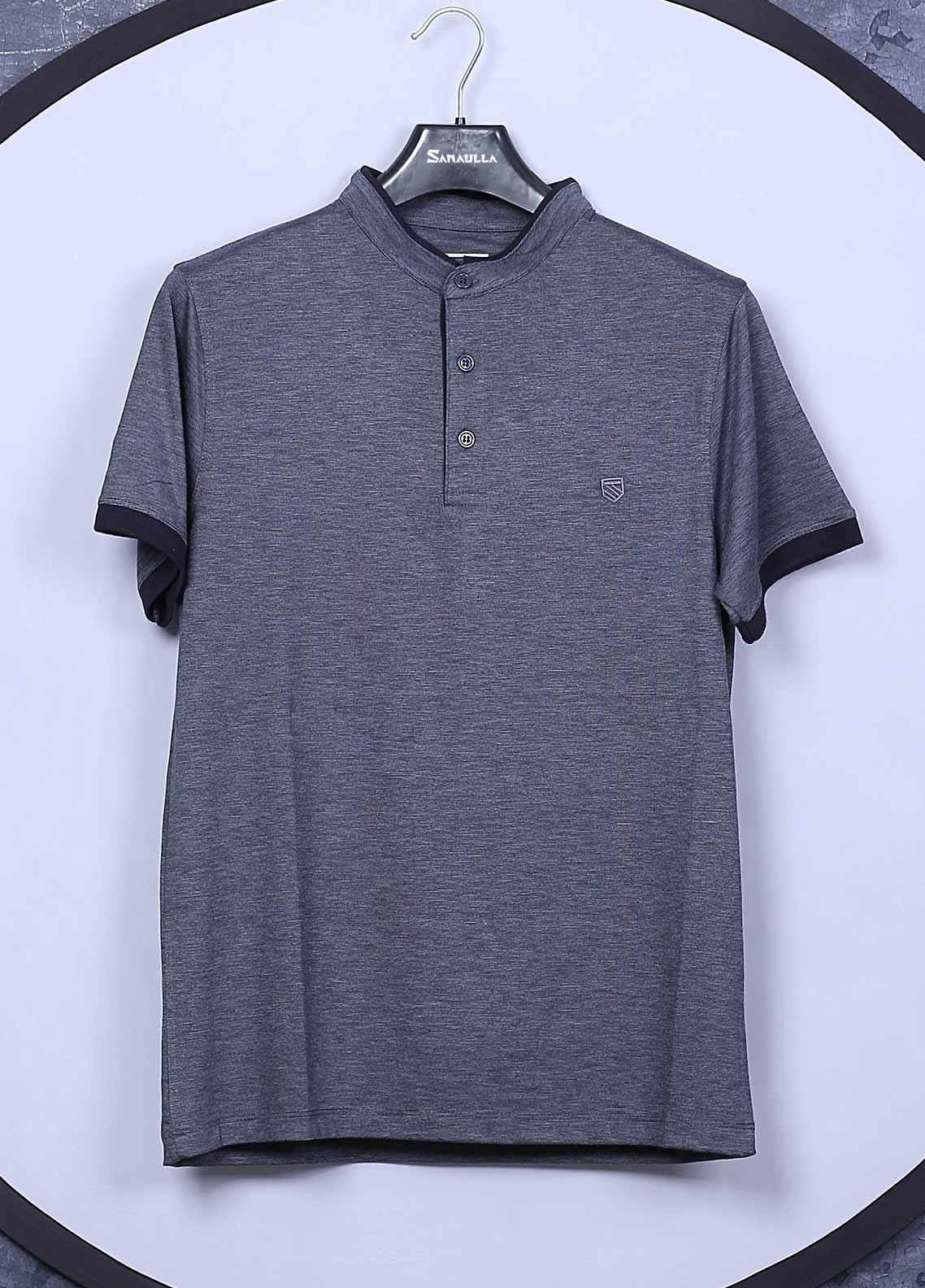 Sanaulla Exclusive Range Cotton Casual Mens T-Shirts -  5565 Blue