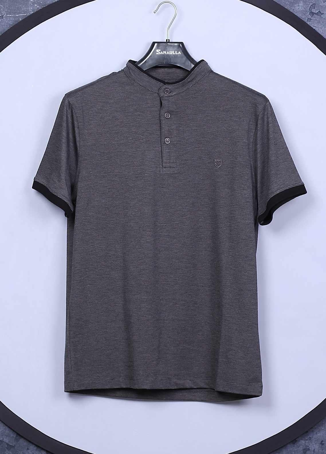 Sanaulla Exclusive Range Cotton Casual T-Shirts for Mens -  5565 Grey