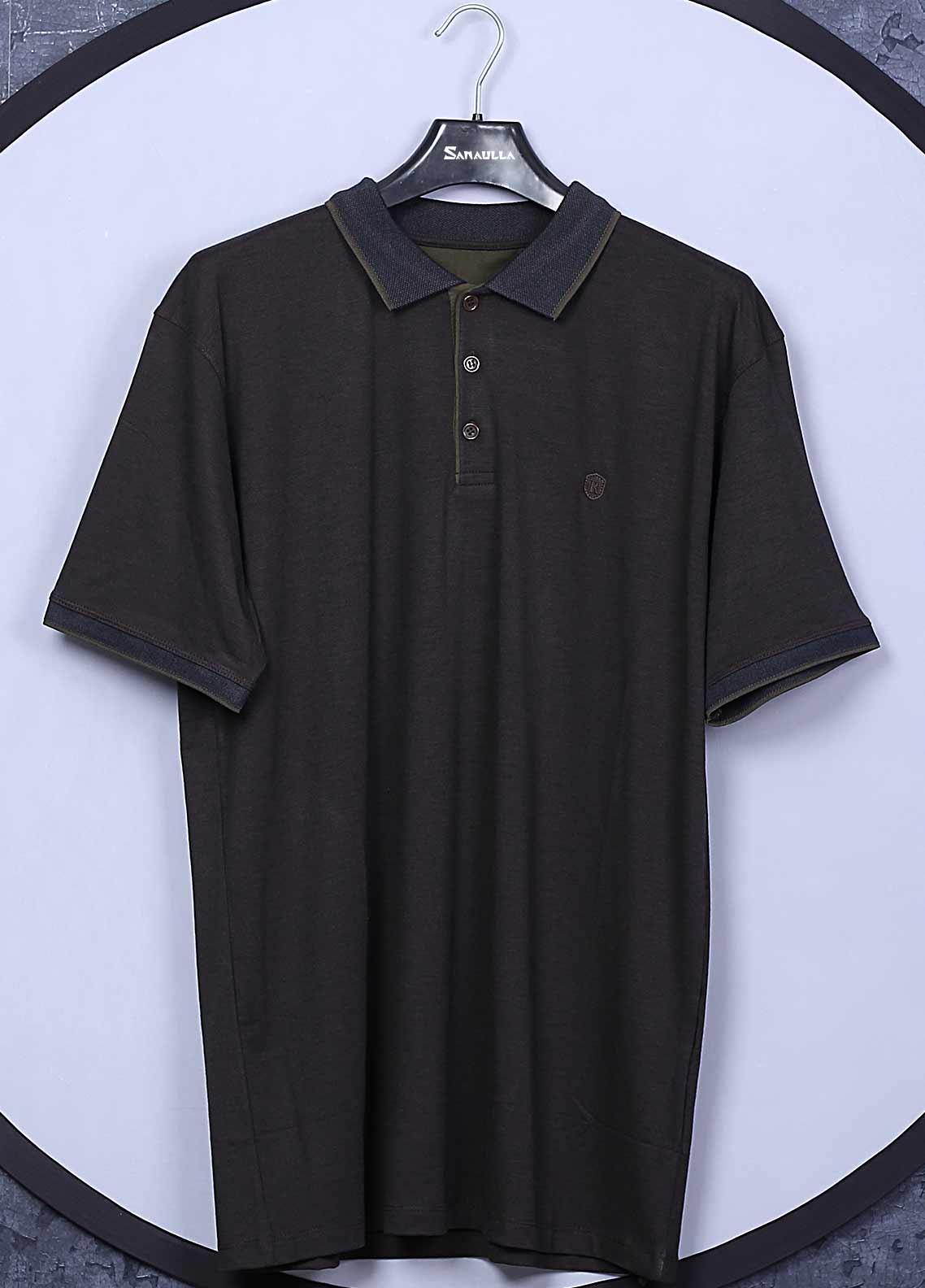 Sanaulla Exclusive Range Cotton Casual T-Shirts for Men -  5570 Dark Grey
