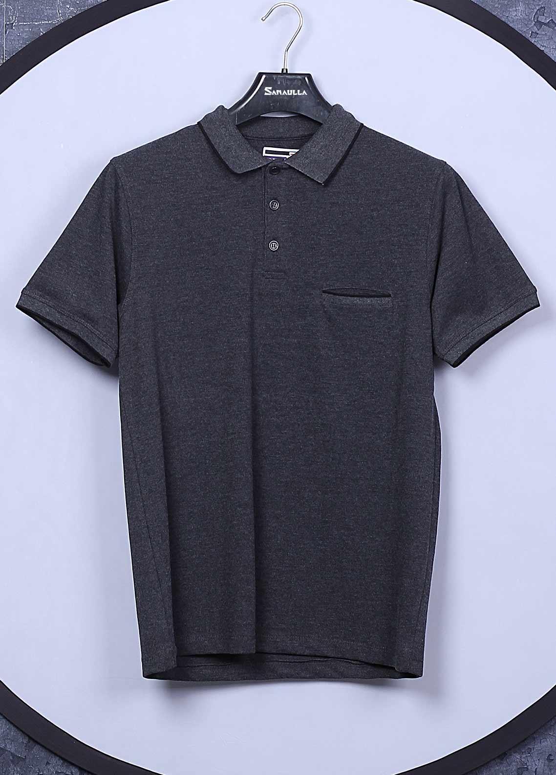 Sanaulla Exclusive Range Cotton Casual T-Shirts for Men -  5595 Dark Grey