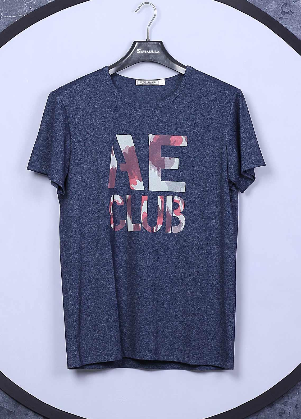 Sanaulla Exclusive Range Cotton Casual T-Shirts for Mens -  66822 Blue