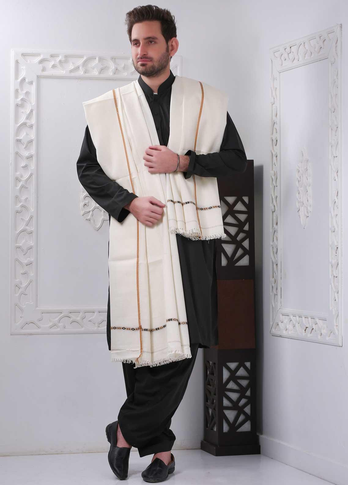 Sanaulla Exclusive Range Embroidered Pashmina  Shawl SU20MS 323254 - Pashmina Shawls