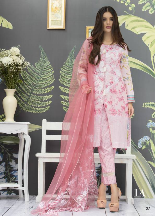 Monsoon Festivana Embroidered Lawn Unstitched 3 Piece Suit MF17L2 1A