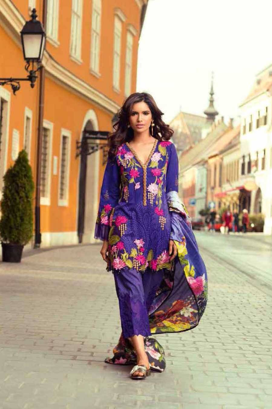 Mina Hasan By Shariq Embroidered Lawn Unstitched 3 Piece Suit MH17L 1B