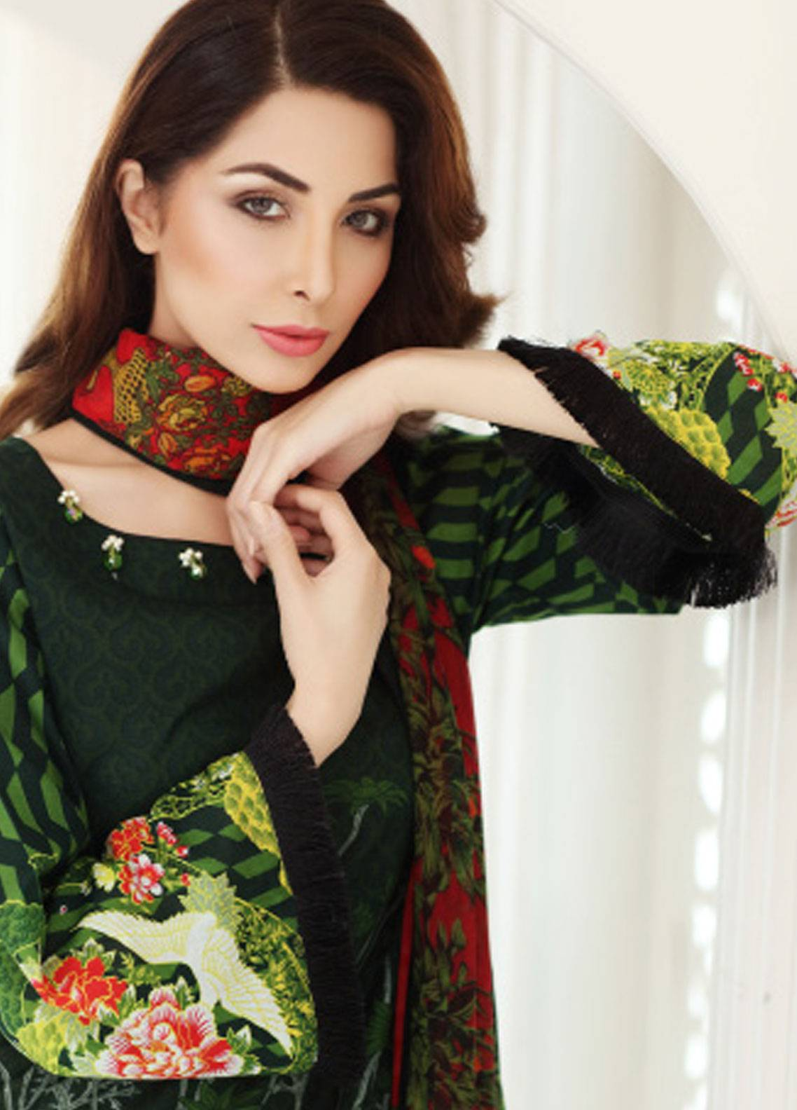 Mahnoor Embroidered Lawn Unstitched 3 Piece Suit MHN18E 4A - Festive Collection