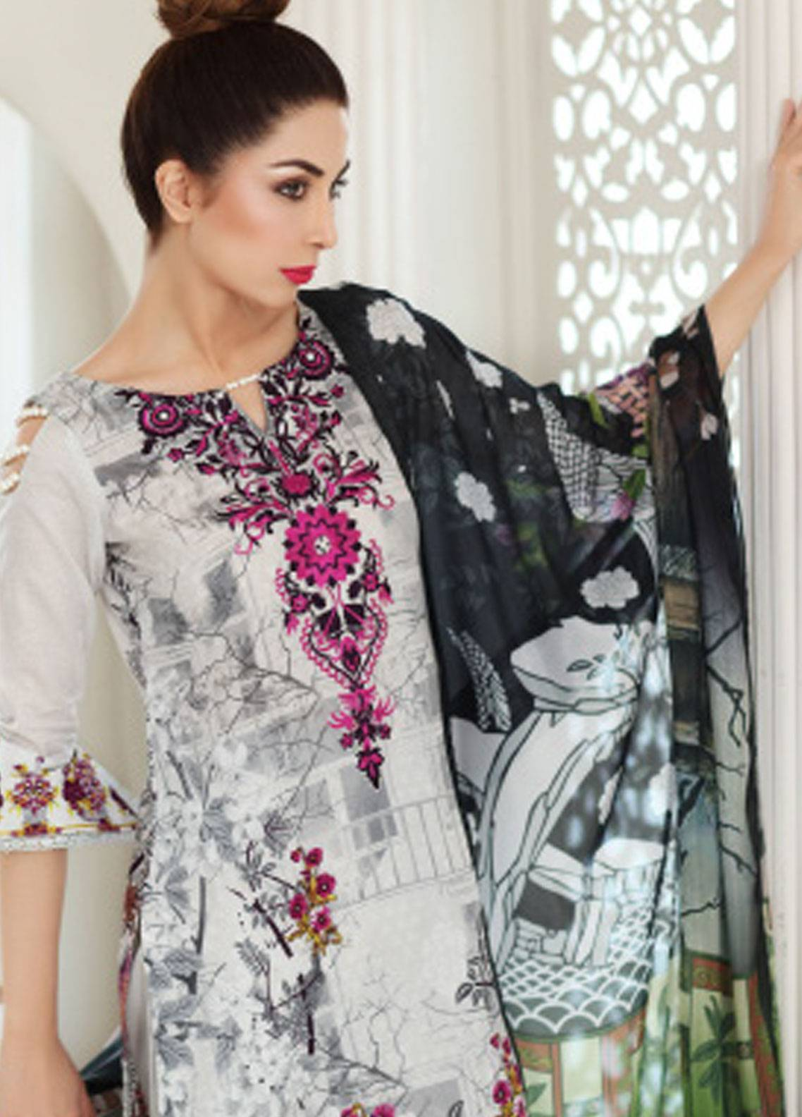 Mahnoor Embroidered Lawn Unstitched 3 Piece Suit MHN18E 5A - Festive Collection