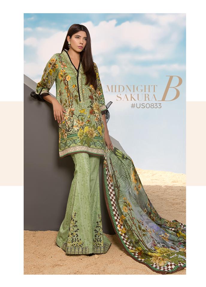 Sapphire Embroidered Khaddar Unstitched 3 Piece Suit SP17W Midnight Sakura B