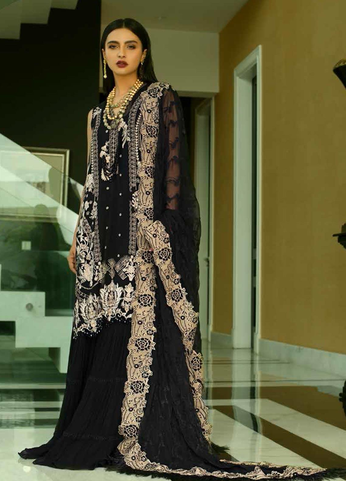 Mina Hasan Embroidered Chiffon Unstitched 3 Piece Suit MH20C 6 - Luxury Collection