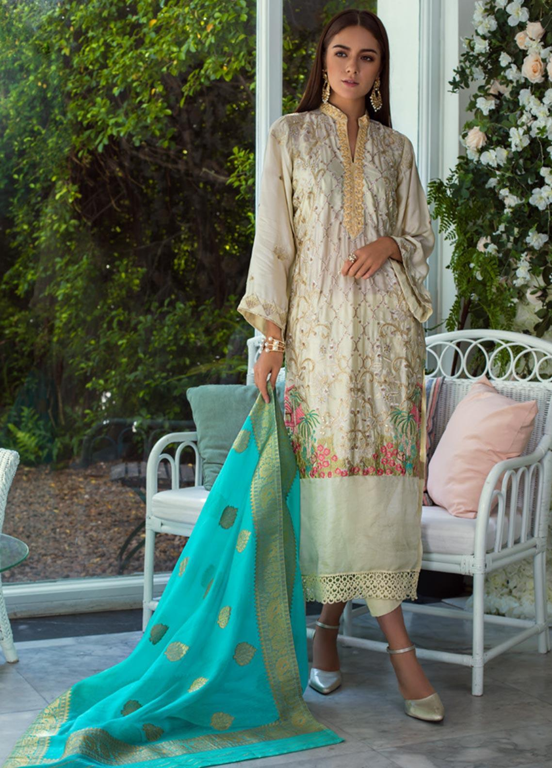 Mirha by ZS Textile Embroidered Charmeuse Unstitched 3 Piece Suit MZS19CH 3 - Winter Collection