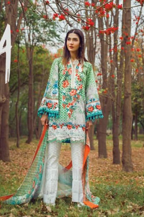 Mishkal Embroidered Lawn Unstitched 3 Piece Suit MK17L 10A