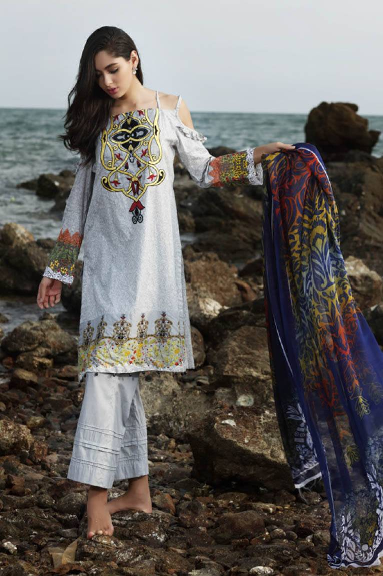 Al Zohaib Embroidered Lawn Unstitched 3 Piece Suit MN17E 12