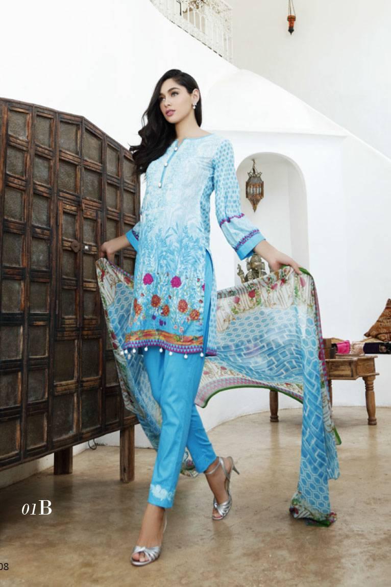 Al Zohaib Embroidered Lawn Unstitched 3 Piece Suit MN17E 1B