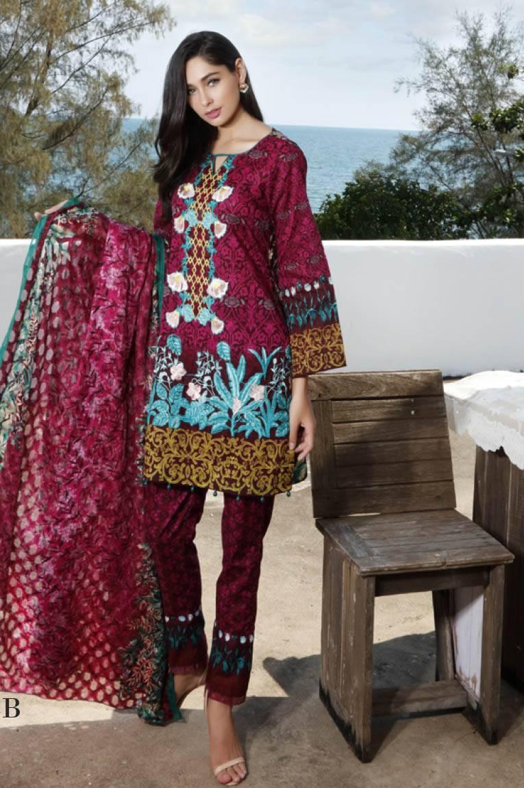 Al Zohaib Embroidered Lawn Unstitched 3 Piece Suit MN17E 4B