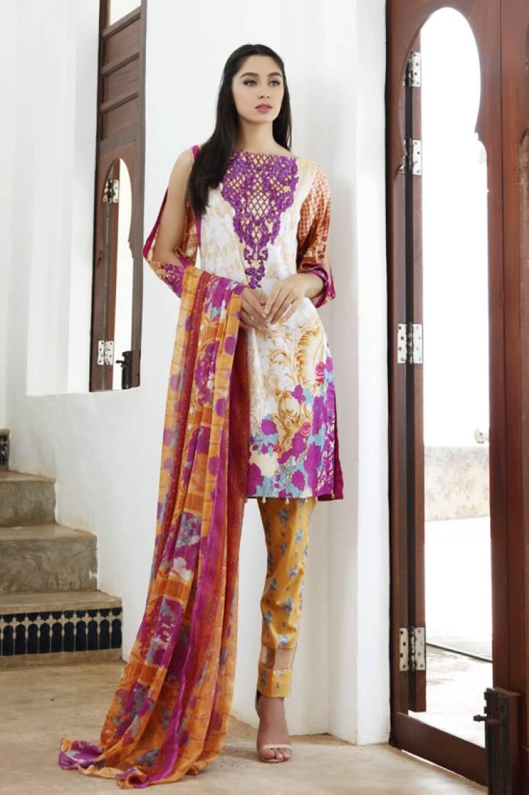 Al Zohaib Embroidered Lawn Unstitched 3 Piece Suit MN17E 5A