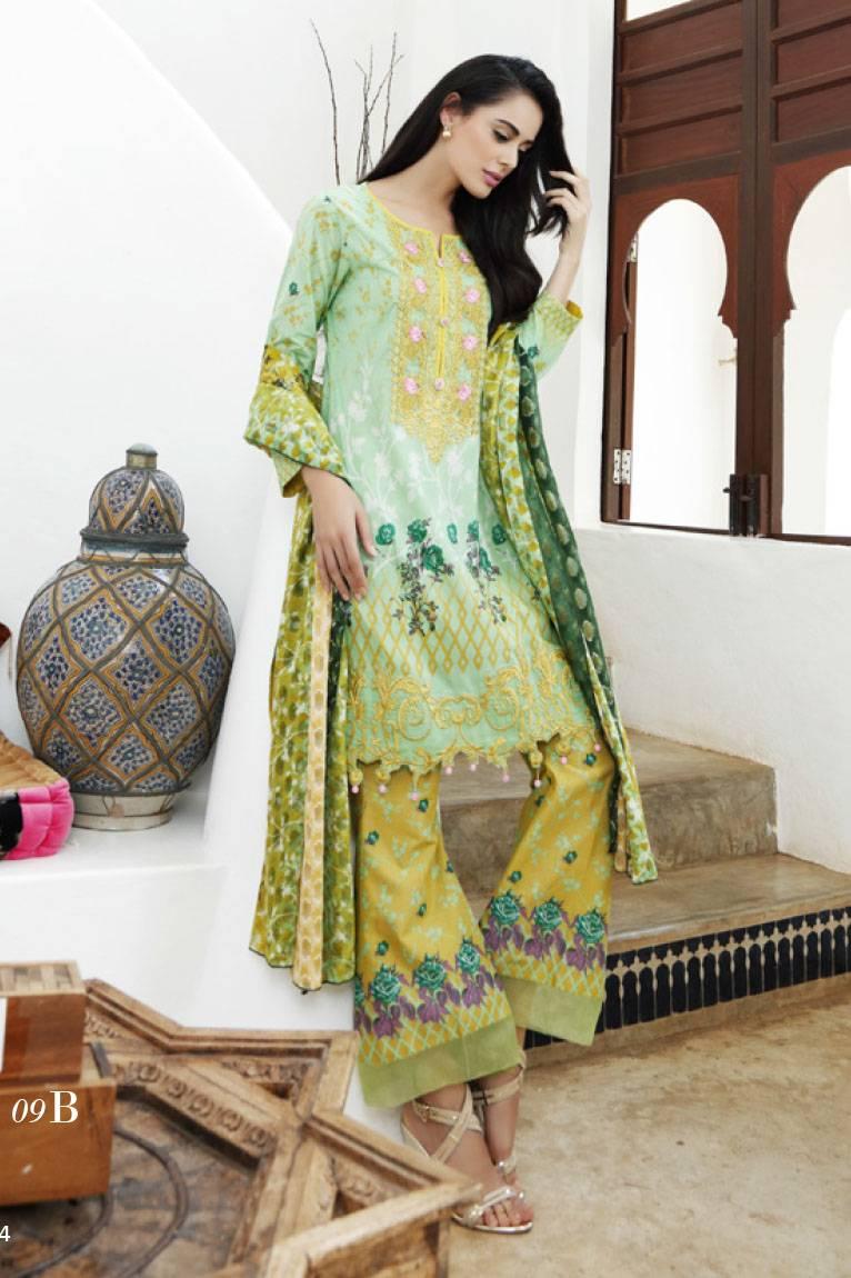 Al Zohaib Embroidered Lawn Unstitched 3 Piece Suit MN17E 9B