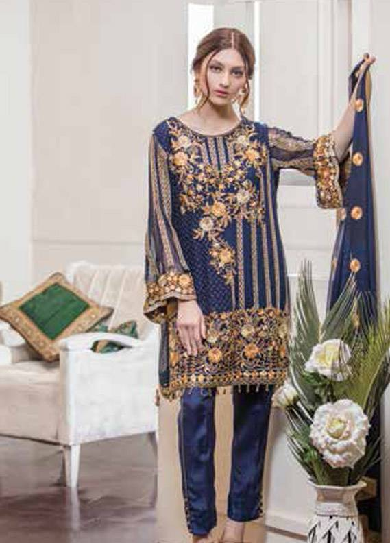 Maryum N Maria Embroidered Chiffon Unstitched 3 Piece Suit MNM17C 09