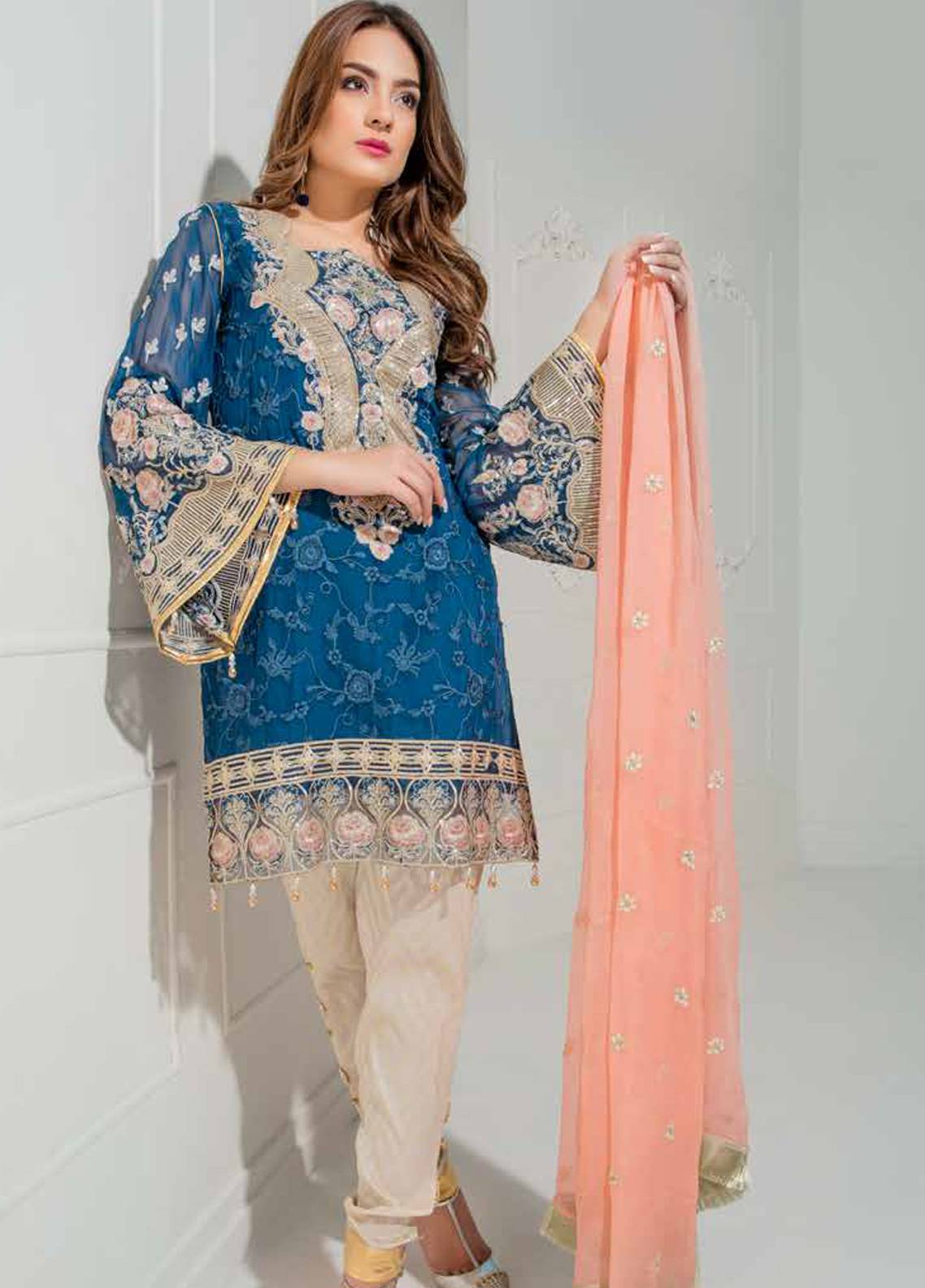 Maryum N Maria Embroidered Chiffon Unstitched 3 Piece Suit MNM18C 02 - Chiffon Collection