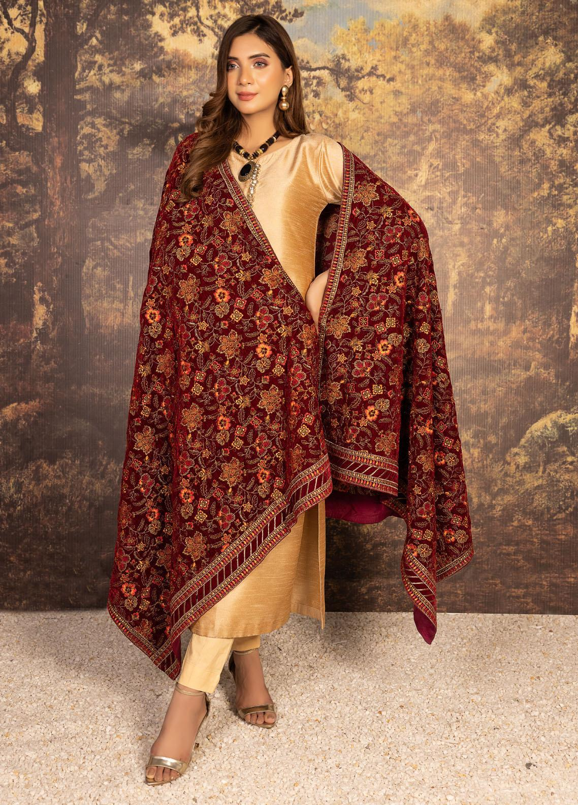 Mohagni Embroidered Velvet  Shawl MVS-20-10 Maroon - Velvet Shawls