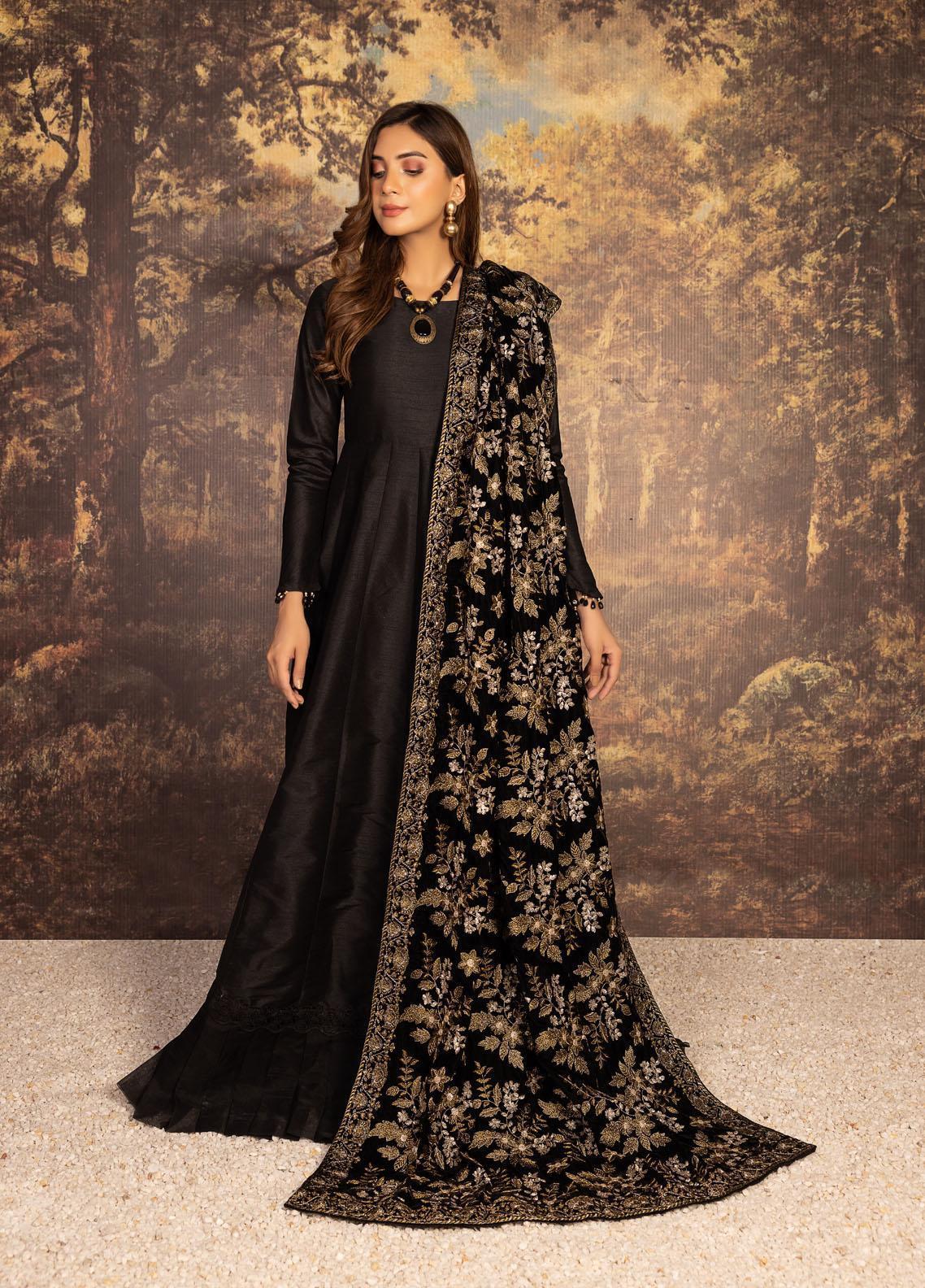 Mohagni Embroidered Velvet  Shawl MVS-21-11 Black - Velvet Shawls