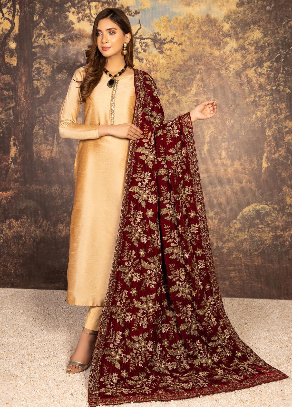 Mohagni Embroidered Velvet  Shawl MVS-21-11 Mehroon - Velvet Shawls