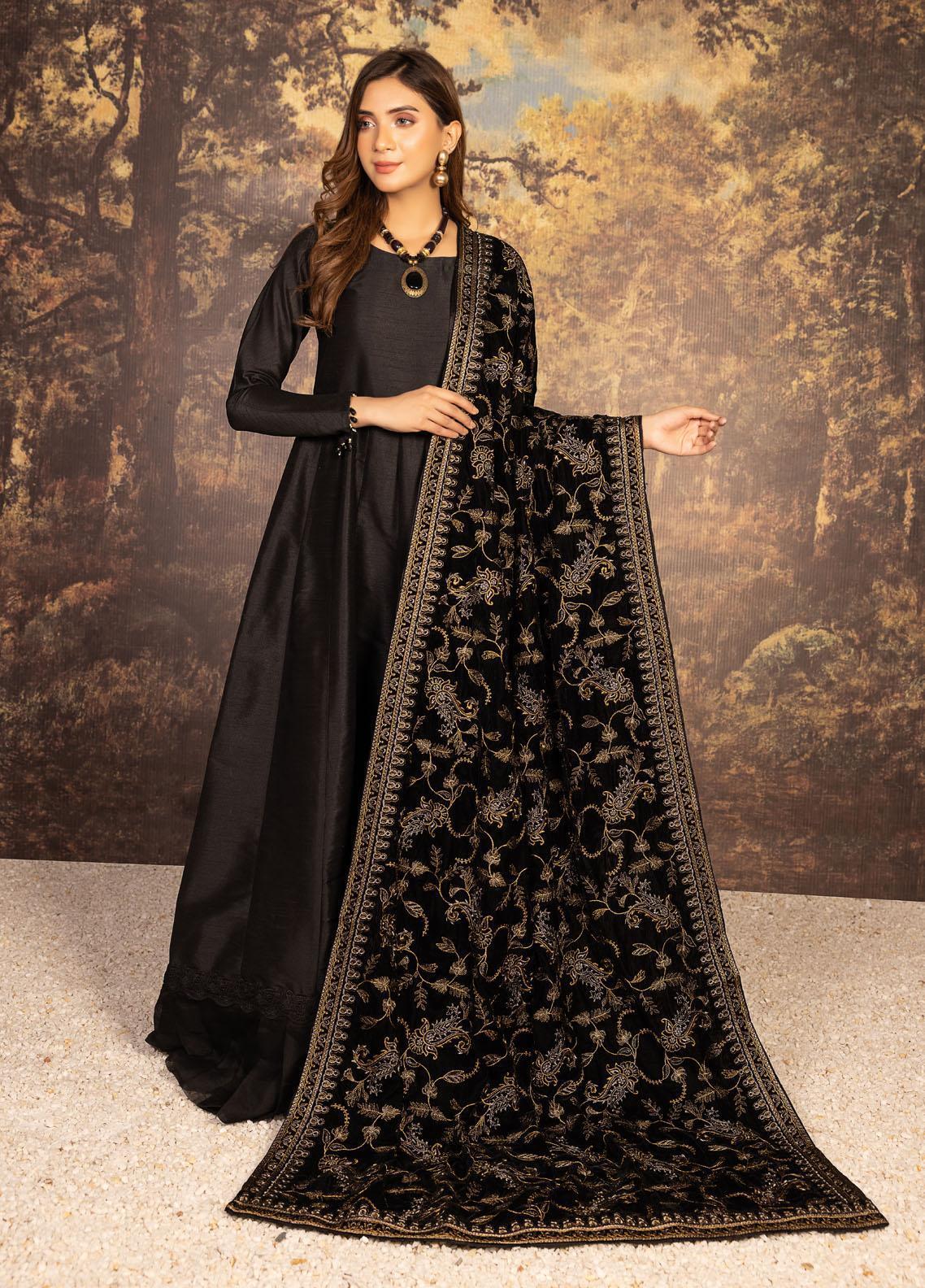 Mohagni Embroidered Velvet  Shawl MVS-21-12 Black - Velvet Shawls