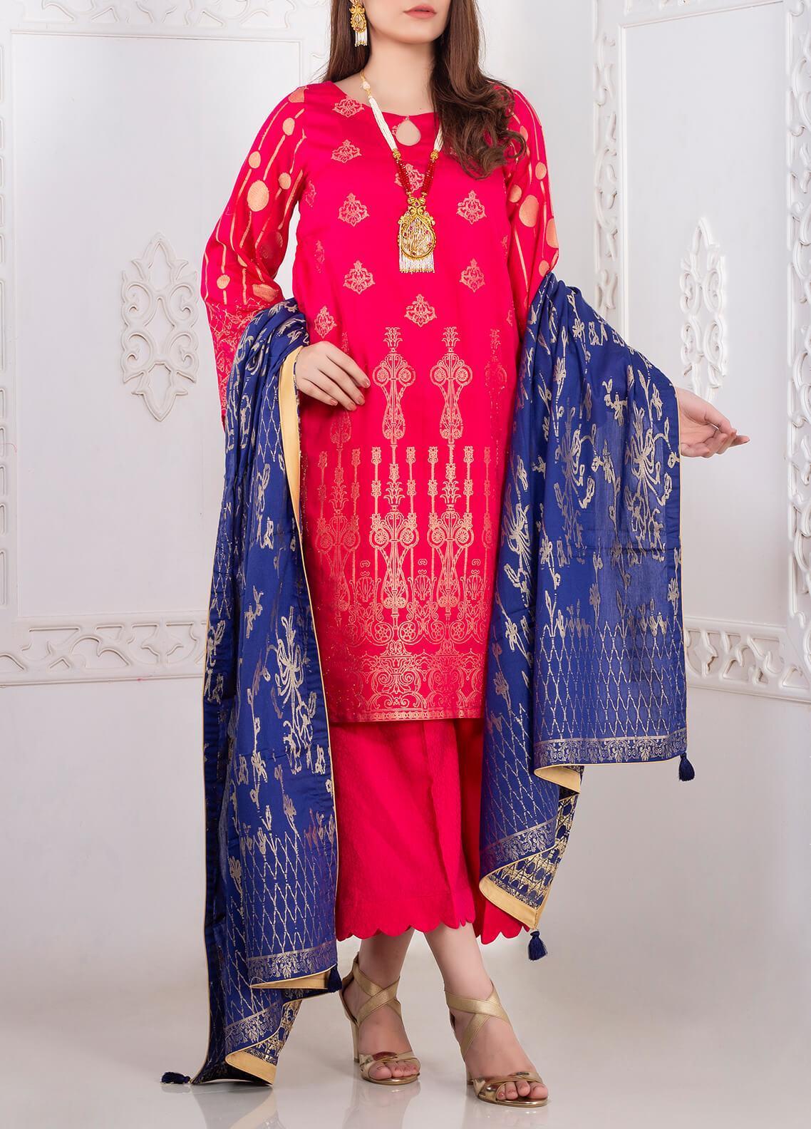 Mosaic Printed Banarsi Jacquard Unstitched 3 Piece Suit MC20J 01 - Luxury Collection