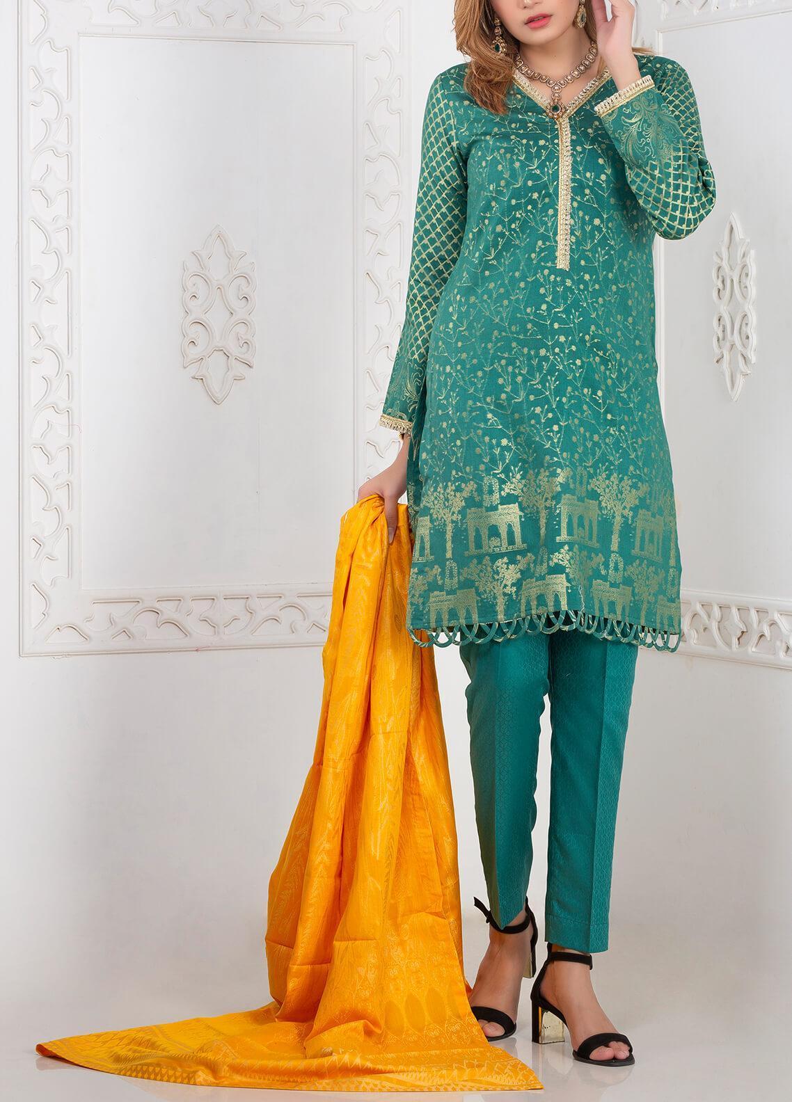 Mosaic Printed Banarsi Jacquard Unstitched 3 Piece Suit MC20J 04 - Luxury Collection
