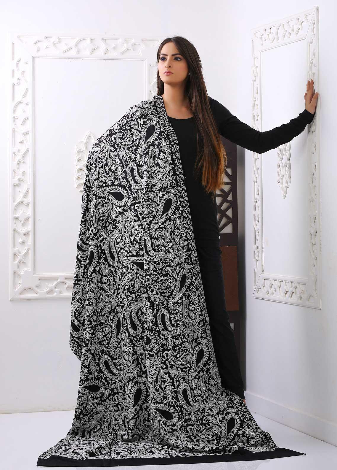 Mosaic Embroidered Woolen  Shawl MC20SH MS-10 - Woolen Shawls