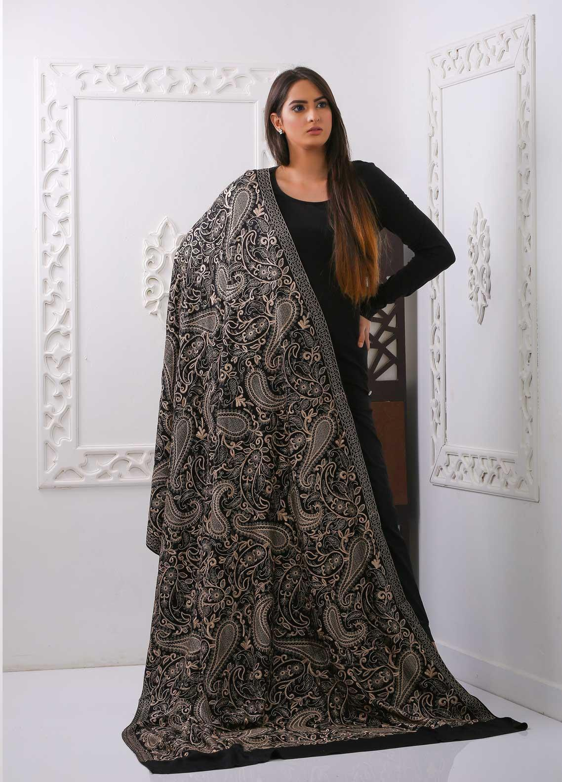 Mosaic Embroidered Woolen  Shawl MC20SH MS-11 - Woolen Shawls