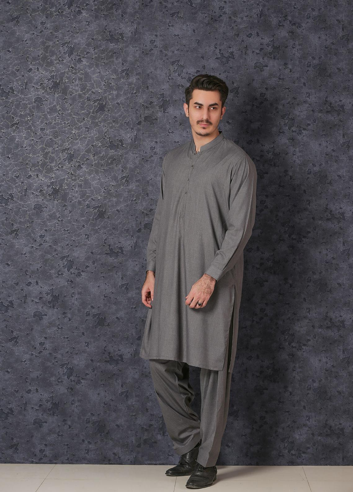 Mosaic Wash N Wear Formal Men Kameez Shalwar -  D-18 Grey