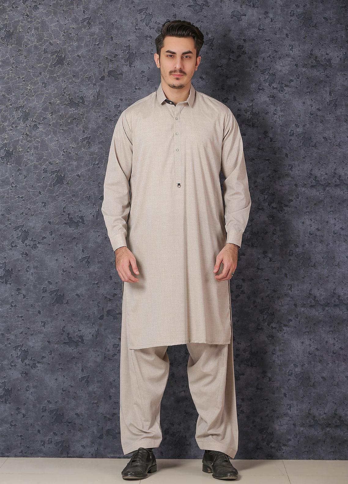 Mosaic Wash N Wear Formal Men Kameez Shalwar -  D-19 Fawn