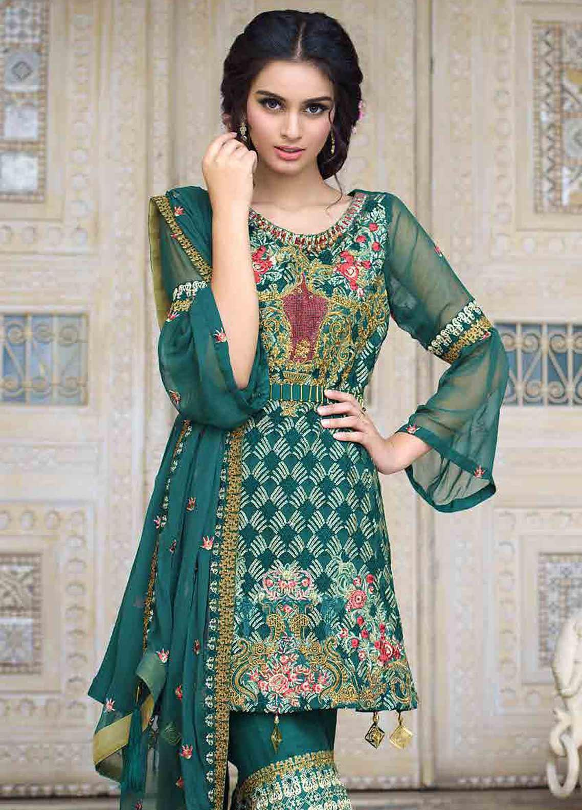 Motifz Embroidered Chiffon Unstitched 3 Piece Suit MTF19-C3 2256 GREEN BLOSSOM - Luxury Collection