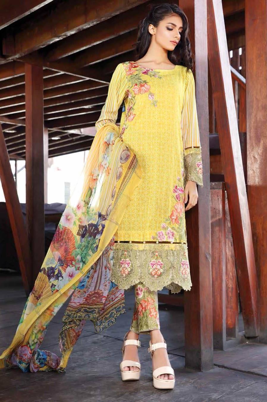 Motifz Embroidered Lawn Unstitched 3 Piece Suit MT17L 1572A