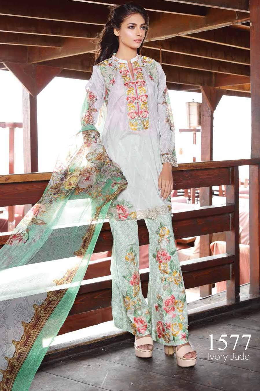 Motifz Embroidered Lawn Unstitched 3 Piece Suit MT17L 1577A
