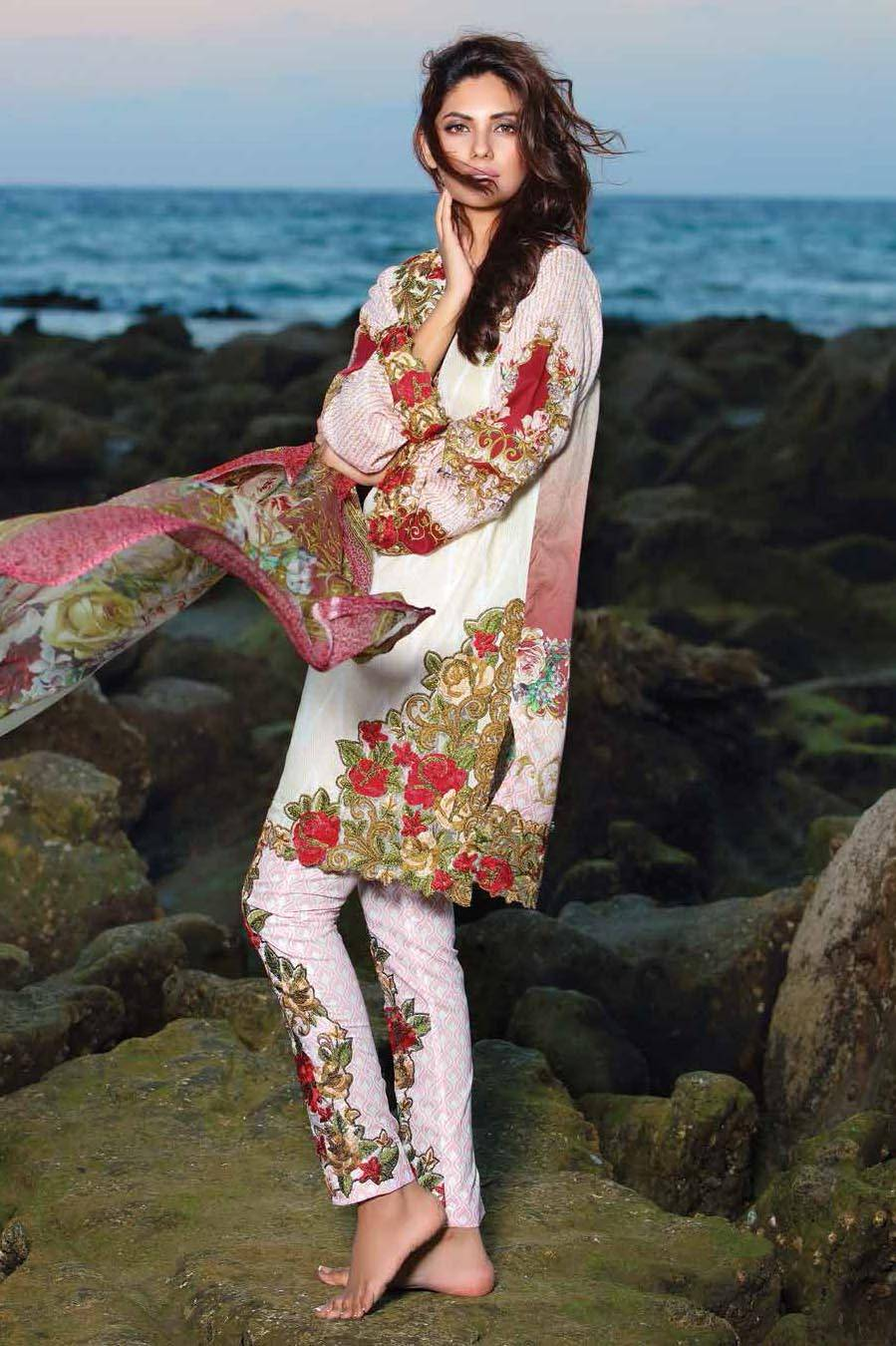 Motifz Embroidered Lawn Unstitched 3 Piece Suit MT17L 1577B