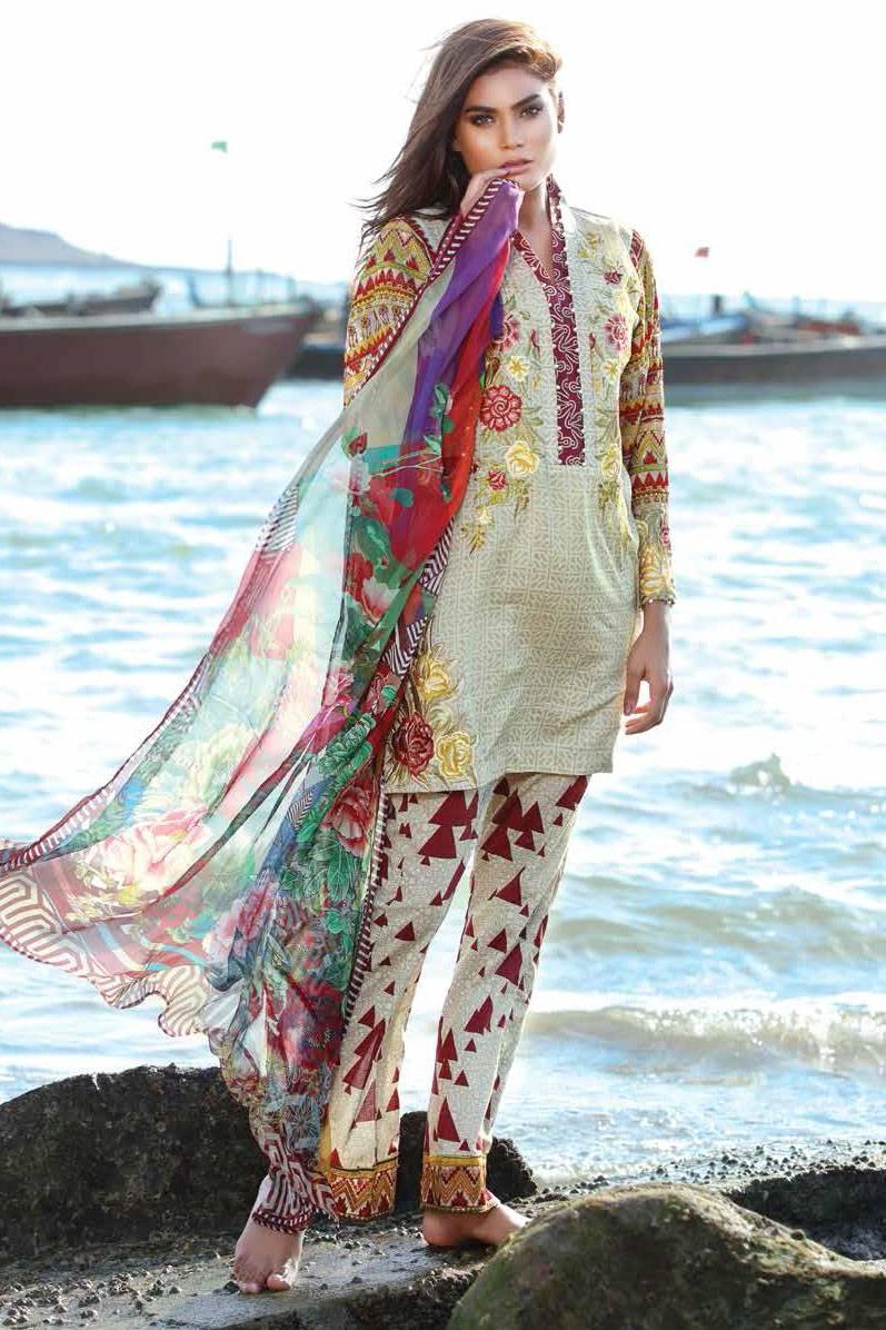 Motifz Embroidered Lawn Unstitched 3 Piece Suit MT17L 1579B