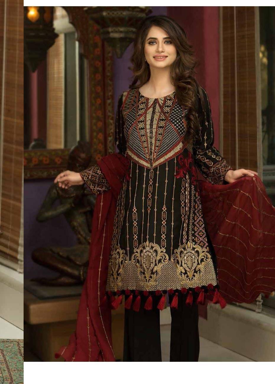 Motifz Embroidered Linen Unstitched 3 Piece Suit MT17W2 2029 Beauty Black
