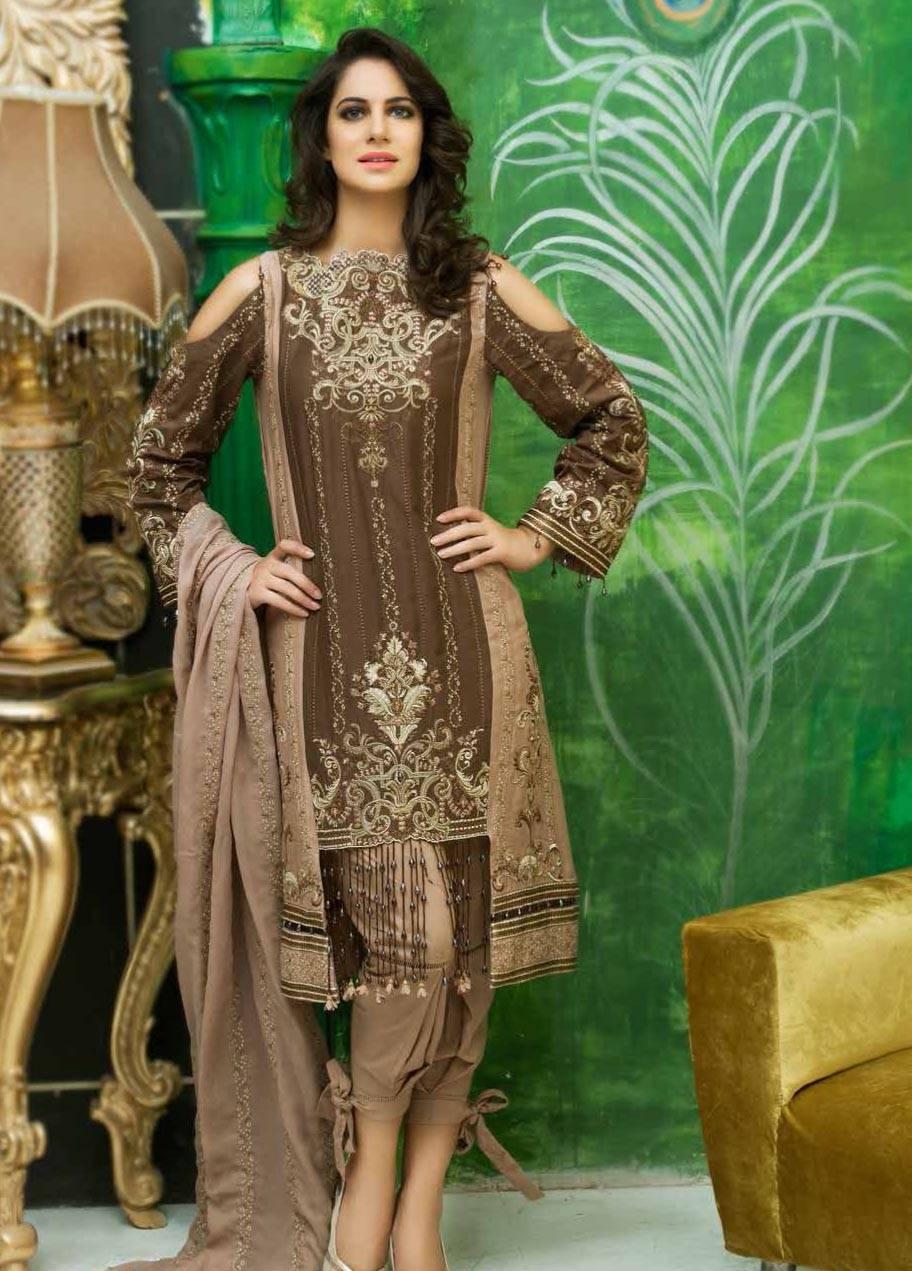 Motifz Embroidered Linen Unstitched 3 Piece Suit MT17W2 2030 Brown
