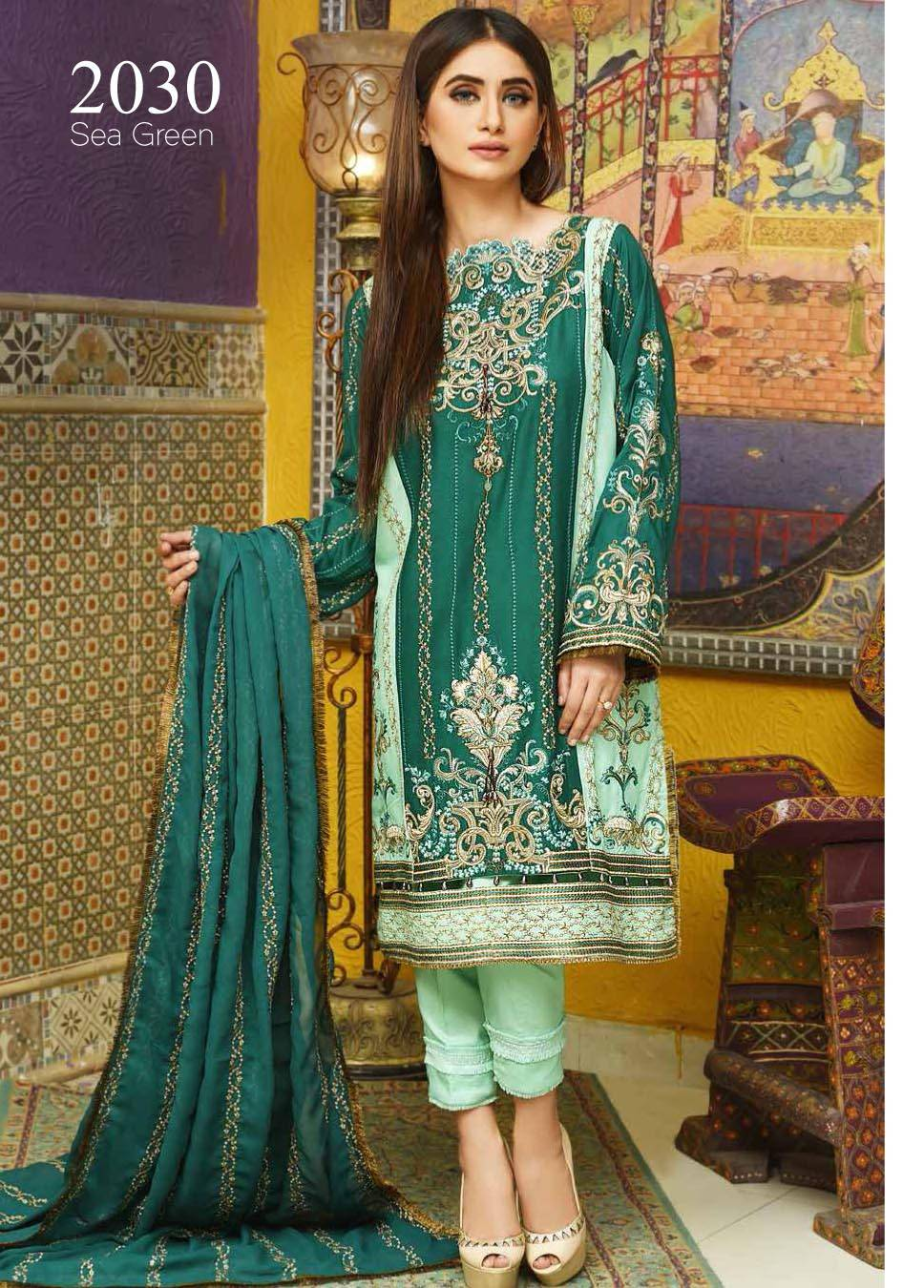 Motifz Embroidered Linen Unstitched 3 Piece Suit MT17W2 2030 Sea Green