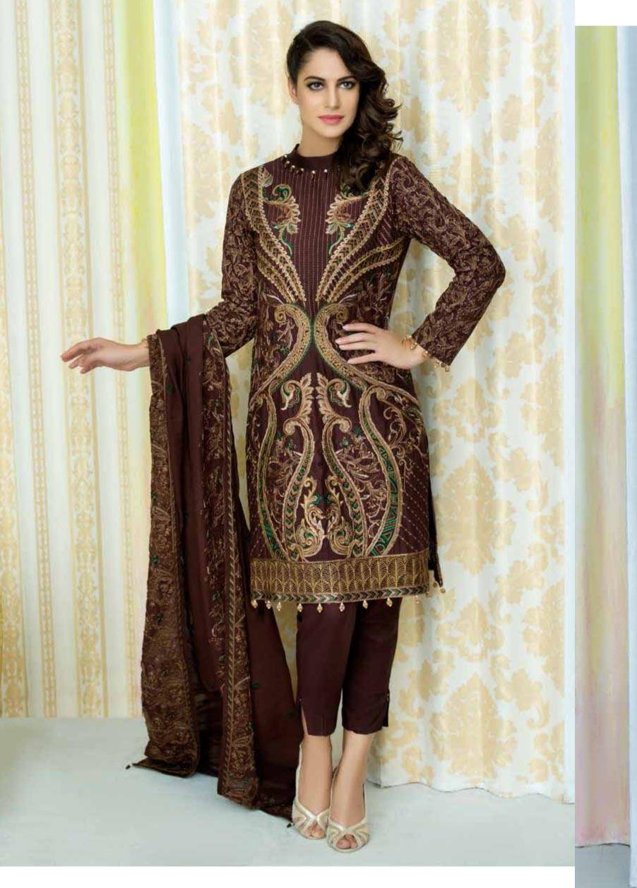 Motifz Embroidered Linen Unstitched 3 Piece Suit MT17W2 2032 Choclate