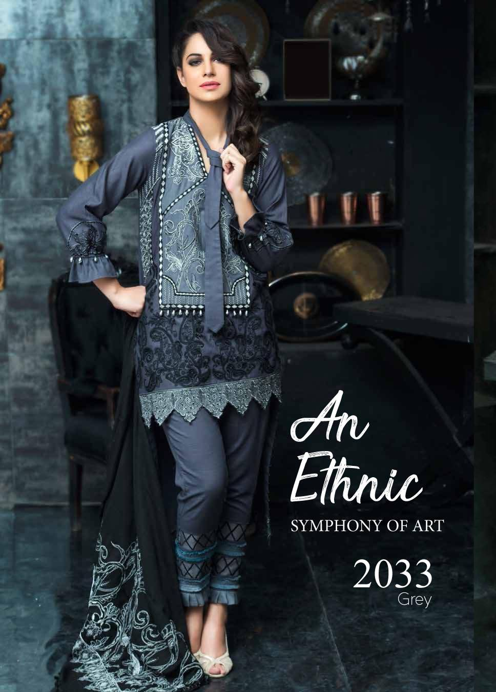 Motifz Embroidered Khaddar Unstitched 3 Piece Suit MT17W2 2033 Grey