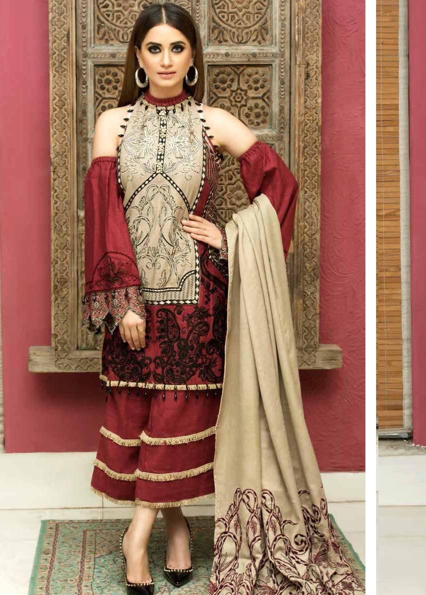Motifz Embroidered Khaddar Unstitched 3 Piece Suit MT17W2 2033 Jam
