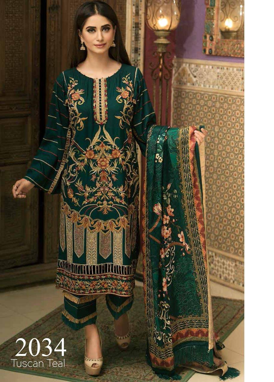 Motifz Embroidered Linen Unstitched 3 Piece Suit MT17W2 2034 Tuscan Teal